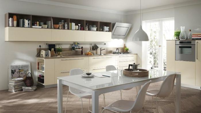 küchendesign weiße möbel essbereich stauraum ideen beige küchenschränke