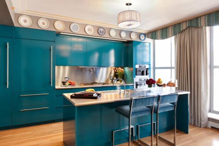 küchendesign blaue küchenschränke kücheninsel beleuchtung dekoideen