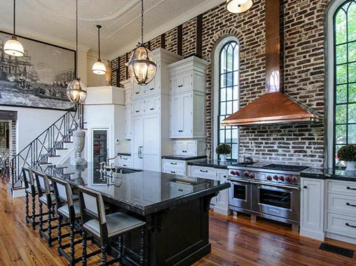 küchengestaltung idee einrichtungsbeispiele deko ideen küche farbgestaltung backstein