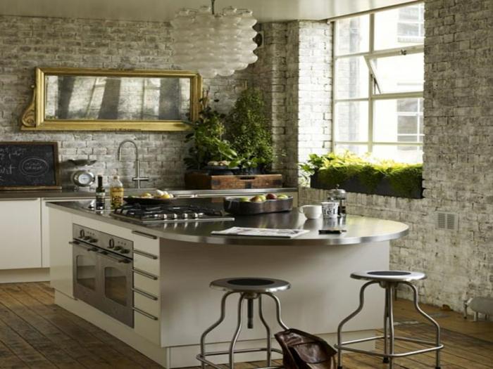 küchengestaltung idee einrichtungsbeispiele deko ideen küche farbgestaltung bepflanzt