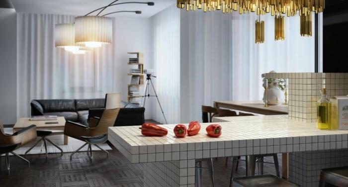 küchengestaltung idee einrichtungsbeispiele deko ideen küche farbgestaltung fliesen sitzbereich