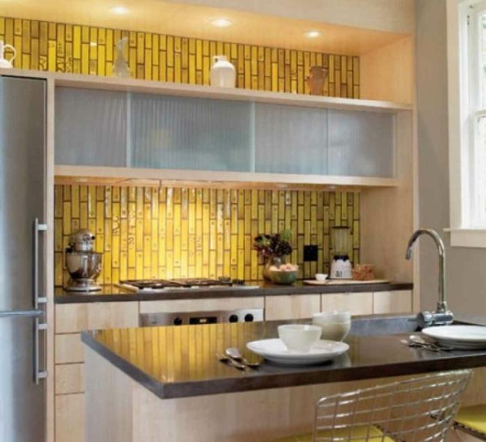 küchengestaltung idee einrichtungsbeispiele- ideen küche farbgestaltung gelb