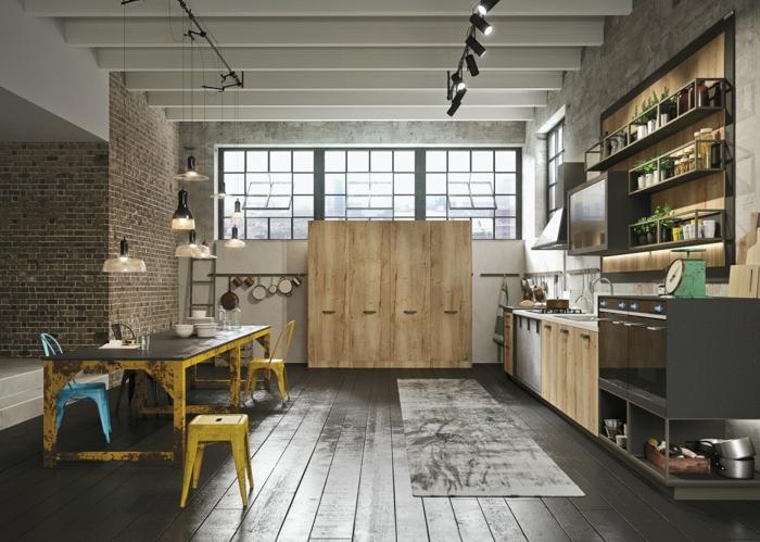 küchengestaltung idee einrichtungsbeispiele deko ideen farbgestaltung holzplatte esstisch alternativ