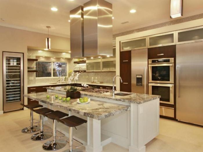 küchengestaltung idee einrichtungsbeispiele deko ideen küche farbgestaltung marmor