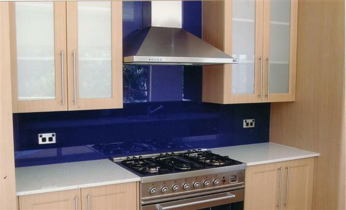 küchenrückwände küchenspiegel dunkelblau wohnideen küche