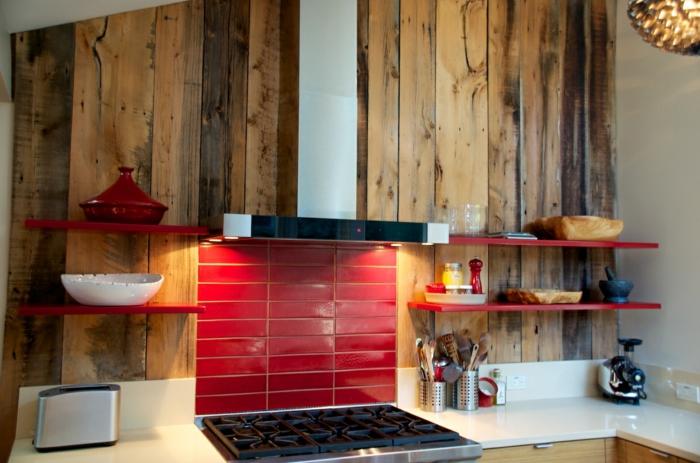 küchenrückwände rote fliesen holzakzente wohnideen küche