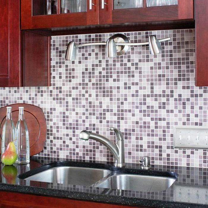 küchenspiegel küchenrückwand fliesen mosaikoptik