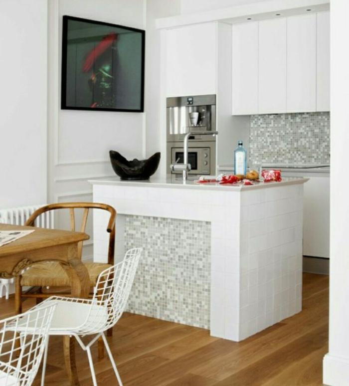 küchenspiegel küchenrückwand wandfliesen mosaik modell grau weiß küchenschränke kücheninsel