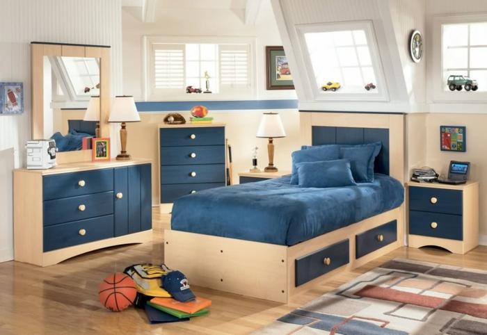 möbel kinderzimmer blaue akzente teppich jungenzimmer helle wände