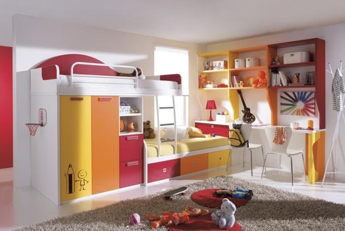 möbel kinderzimmer farbige akzente beiger teppich hochbett