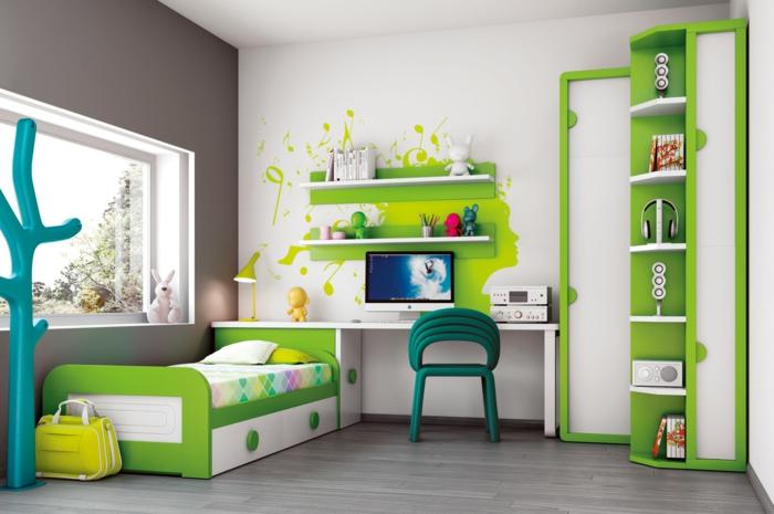 möbel kinderzimmer grüne akzente weiße wände