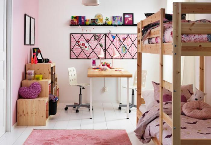 möbel kinderzimmer mädchenzimmer einrichten hochbett rosa teppich