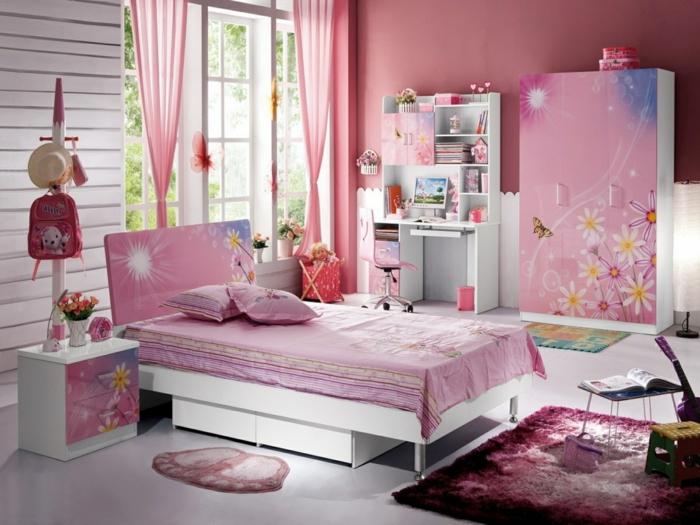 möbel kinderzimmer mädchenzimmer teppich luftige gardinen