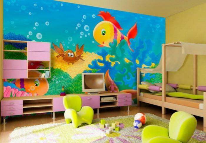 möbel kinderzimmer wandgestaltung ideen farbige kindermöbel teppich regale