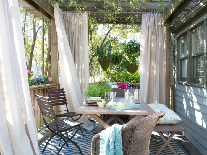 moderne gartengestaltung essbereich einrichten teppich gardinen