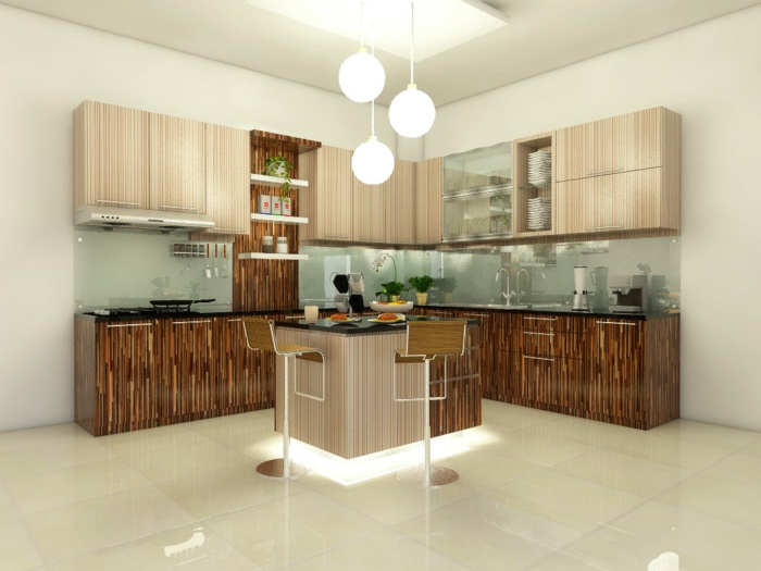 moderne küchen küchenschränke holztextur bodenfliesen beleuchtete kücheninsel