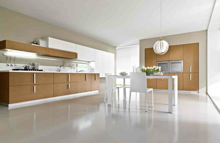 moderne küchen minimalistisches design tulpen weißer boden