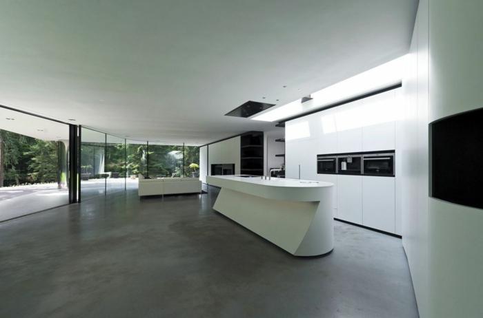 moderne küchen mininalistisch futuristisch grauer boden weiße möbel