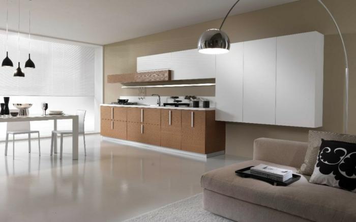 moderne küchen offener wohnplan pendelleuchten weißer esstisch