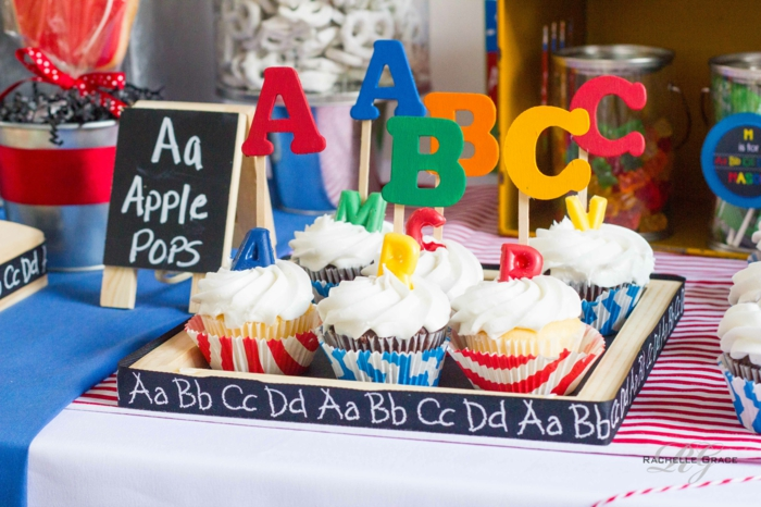 mottoparty ideen abc party idee cupcakes tischdekoration