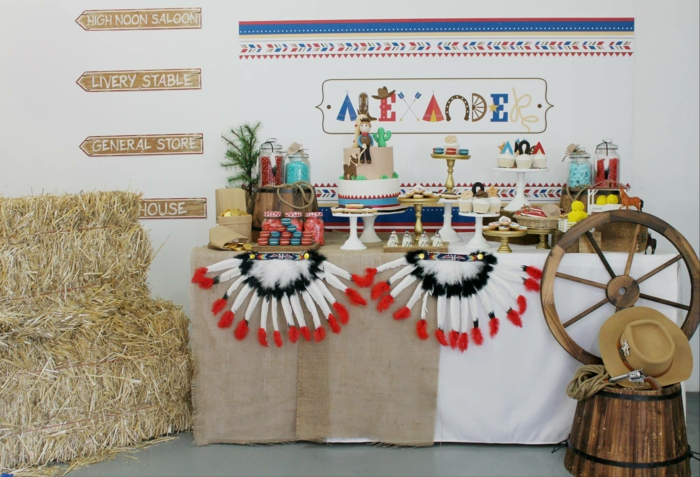 mottoparty ideen cowboys indianer party thema bunte feder