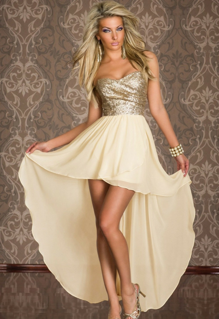 mottoparty ideen glamour gold party abendkleid