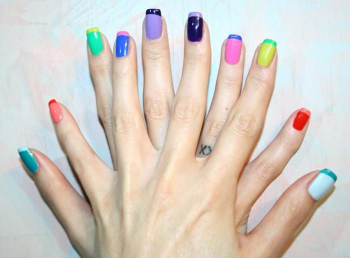 nageldesign ideen farbige ideen nageldesign französische maniküre