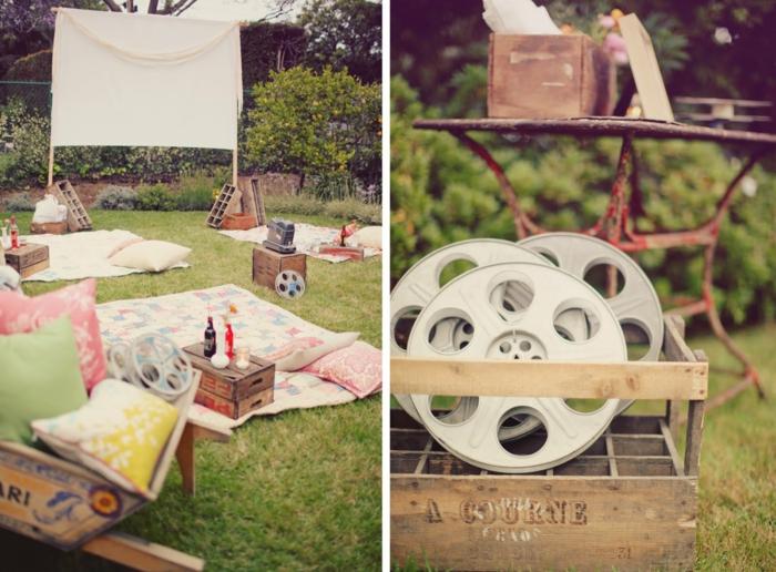 open air kino kreativegartenideen freiluft kino decke stimmung soundsystem accessoires