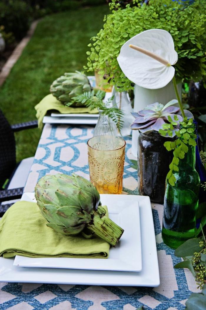 party deko ideen sommerfrüchte gartentisch dekorieren