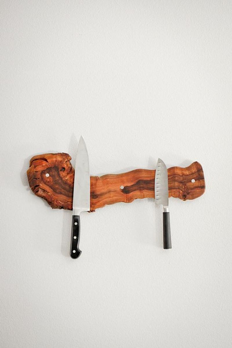 rustikale DIY Magnetleiste für Messer selber bauen Anleitung Küchenzubehör