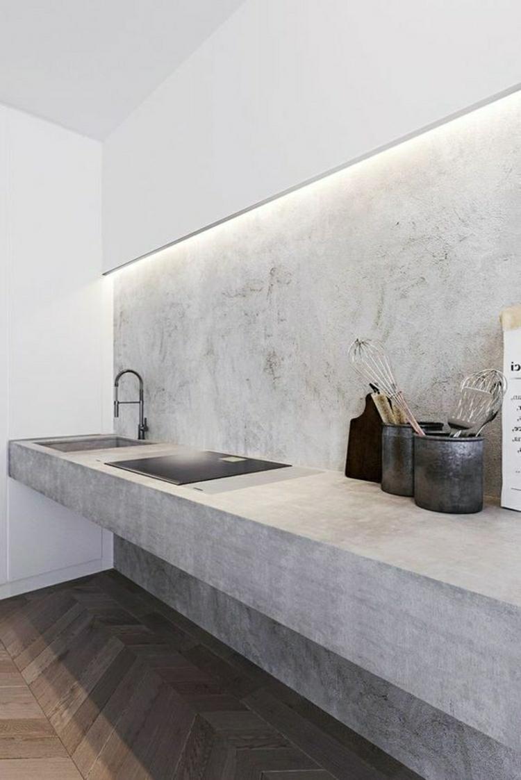 schöne Küchen Bilder Küchenideen moderne Küche planen Beton Küchenarbeitsplatte