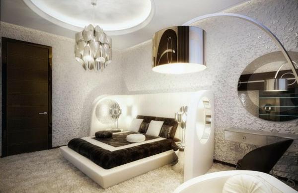 schlafzimmer einrichten doppelbett bogenlampe kronleuchter teppichboden