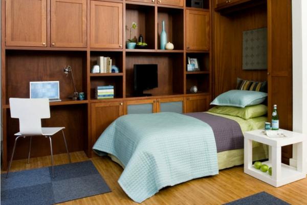 schlafzimmer komplett eichenholz wandregale schränke bettnische