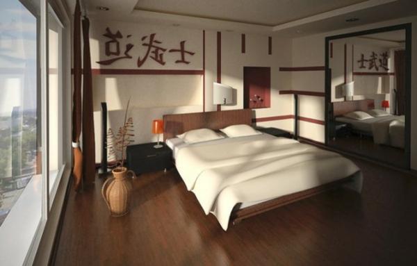 schlafzimmer einrichten feng shui stil doppelbett parkett vase