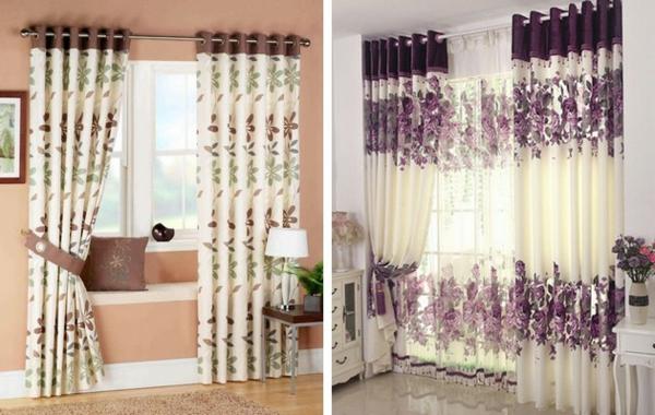 schlafzimmer einrichten gardinen vorhänge blumenmuster fensterbank
