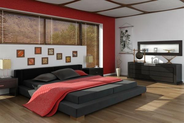 schlafzimmer einrichten japanisches design doppelbett kommode feng shui