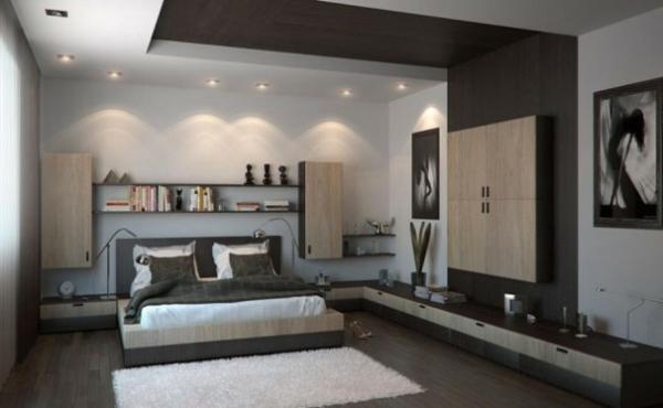 schlafzimmer einrichten neutrale farben einbauleuchten doppelbett wandregale
