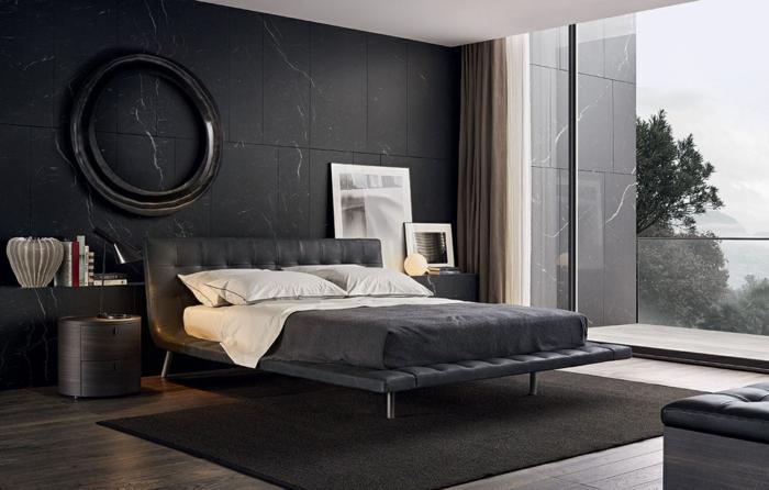 schlafzimmer einrichten schwarze akzentwand teppich wanddeko panoramafenster