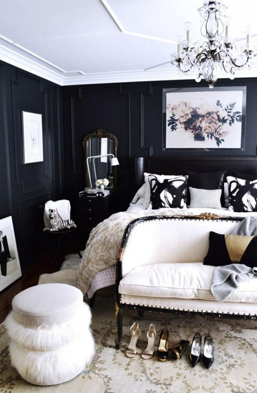 schlafzimmer einrichten schwarze wände weiße zimmerdecke hocker schlafzimmerbank