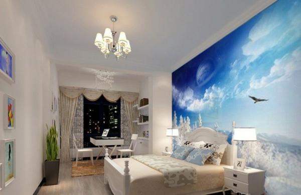schlafzimmer einrichten wandtapete wandgestaltung weißes doppelbettn nachttisch