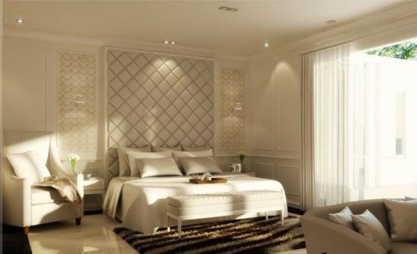 schlafzimmer einrichten weiße wandfarben möbel sessel doppelbett kissen teppich