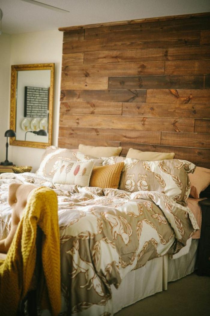 schlafzimmer einrichtung bettkopfteil holz lustige bettwäsche