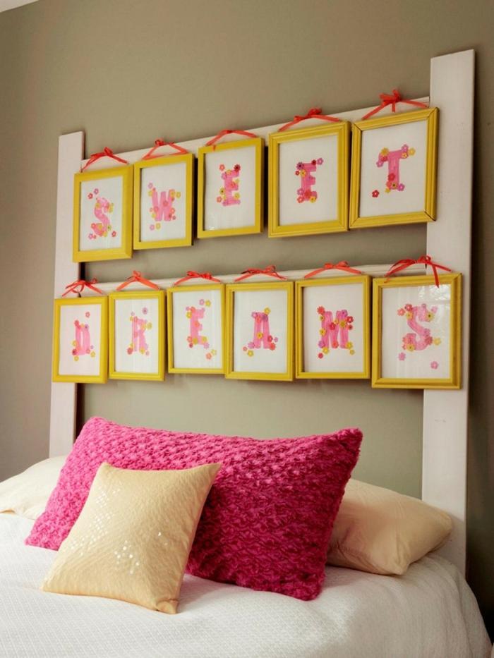 schlafzimmer einrichtung dekoideen bettkopfteil bilderrahmen