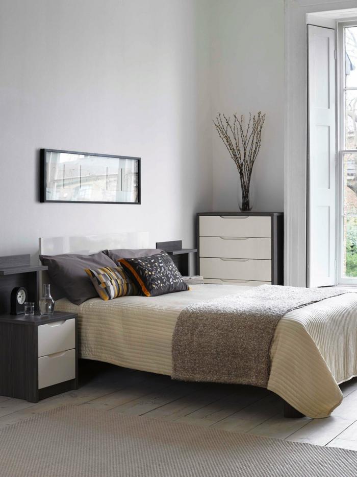 schlafzimmer einrichtung dekovase zweige kleines schlafzimmer