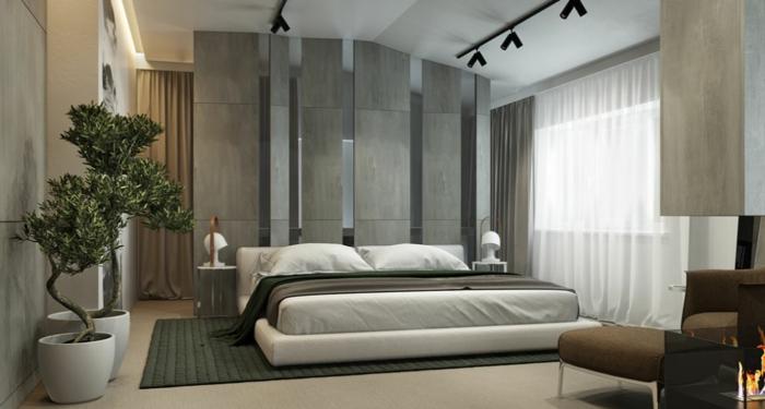 Einrichtungsideen Schlafzimmer Bett Holzboden Wandfarbe Grau, Wohnzimmer  Design