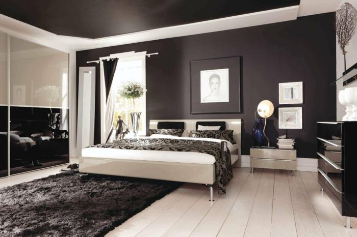 schlafzimmer schwarz heller boden moderner kleiderschrank schiebetüren