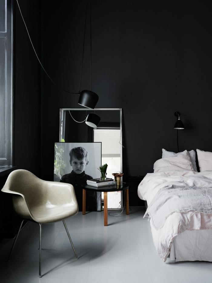 Schlafzimmer schwarz 31 beispiele dass schwarze schlafzimmer schick und wohnlich sind - Wand schwarz streichen ...