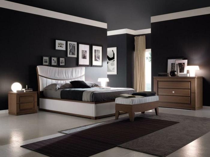 schlafzimmer schwarz teppichläufer wanddeko beleuchtung