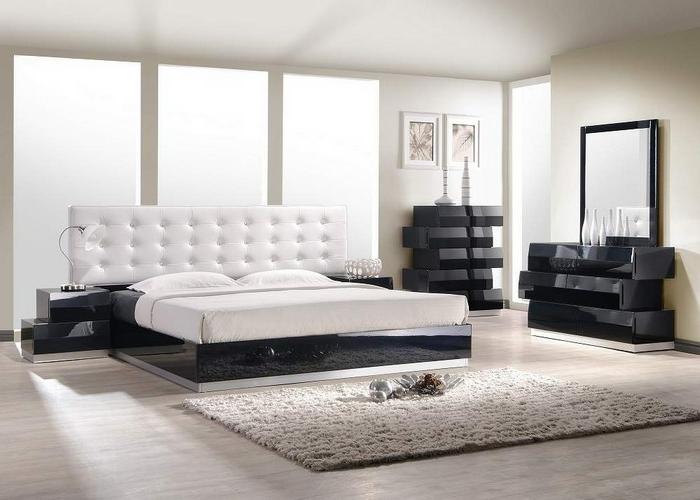 schlafzimmer schwarz weiß ausgefallene kommoden schickes bettkopfteil