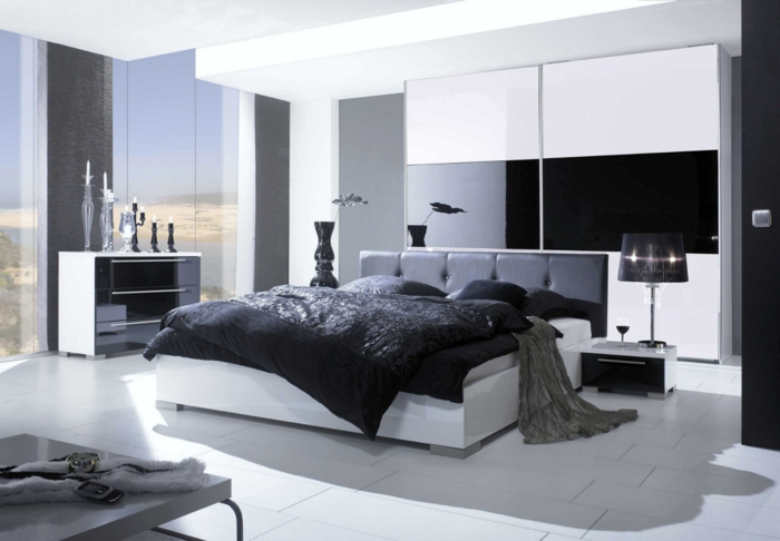 schlafzimmer schwarz weiß bodenfliesen panoramafenster dekoelemente